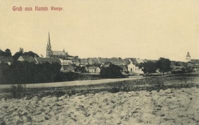 Kamień Krajeński (ok.1903r.) Panorama od strony południowej. Z lewej strony kościół ewangelicki (1899 r.), w środku synagoga (1869 r.), z prawej strony kościół katolicki (1864 r.)